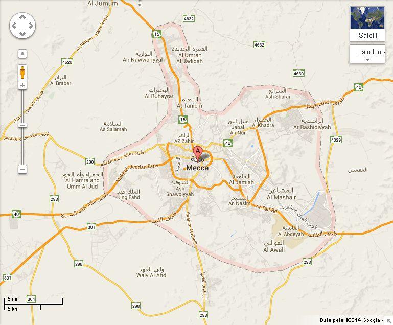 peta mekkah google map 2014